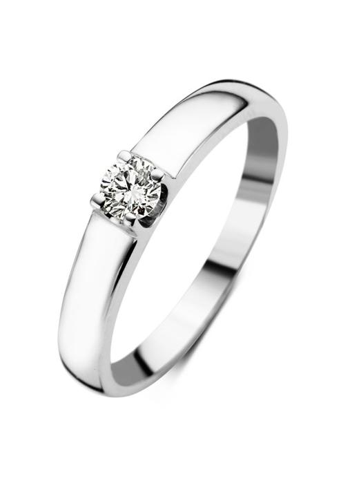 Diamond Point Groeibriljant ring c shape in 18 karat white gold, 0.17 ct.