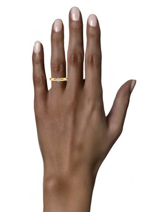 Diamond Point Groeibriljant ring c shape in 18 karat yellow gold, 0.23 ct.