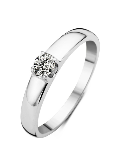 Diamond Point Groeibriljant ring c shape in 18 karat white gold, 0.23 ct.
