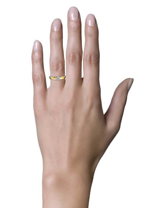 Diamond Point Groeibriljant ring c shape in 18 karat yellow gold, 0.30 ct.