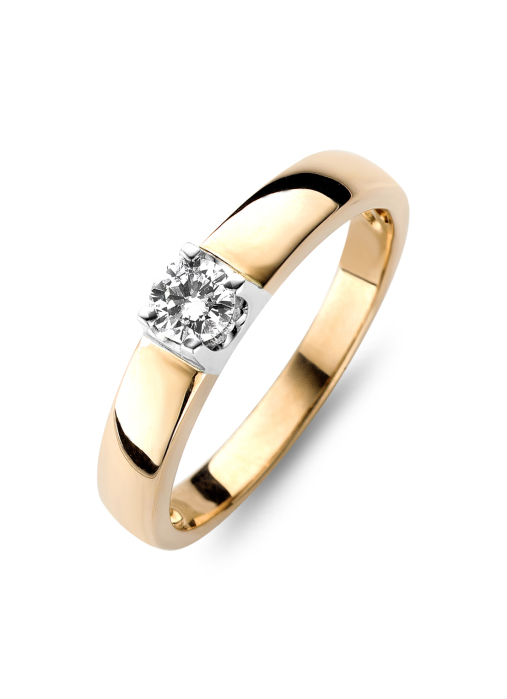 Diamond Point Groeibriljant Ring C-Fassung in 18K Roségold, 0.37 ct.