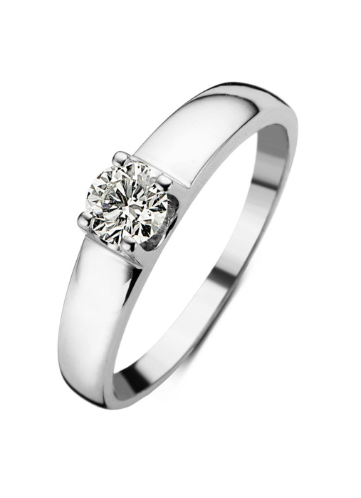 Diamond Point Groeibriljant ring c shape in 18 karat white gold, 0.45 ct.