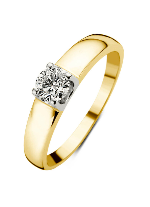 Diamond Point Groeibriljant ring c shape in 18 karat yellow gold, 0.70 ct.