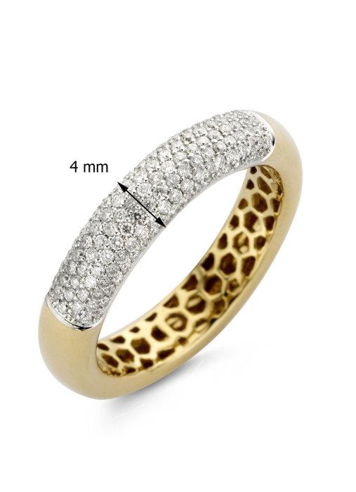 Diamond Point Caviar ring in 18 karat yellow gold
