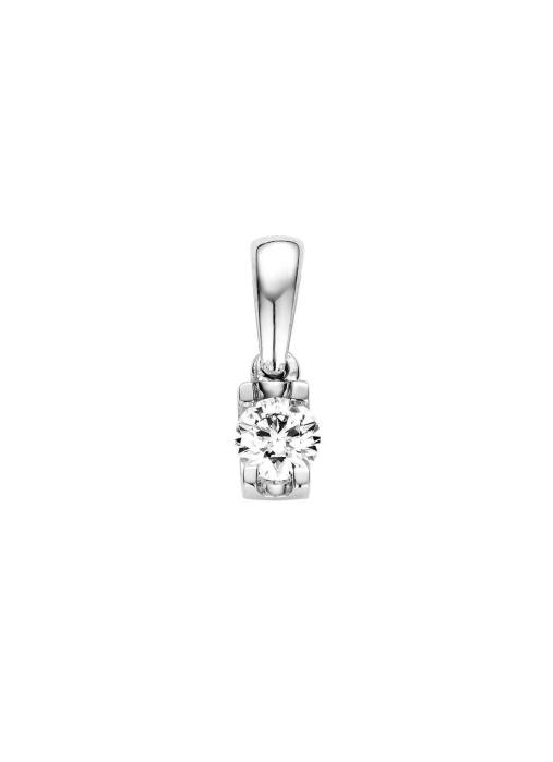 Diamond Point Groeibriljant pendant c shape in 18 karat white gold, 0.12 ct.