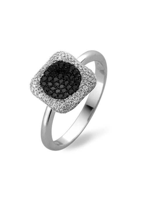 Diamond Point Black Ring in 18K Weißgold