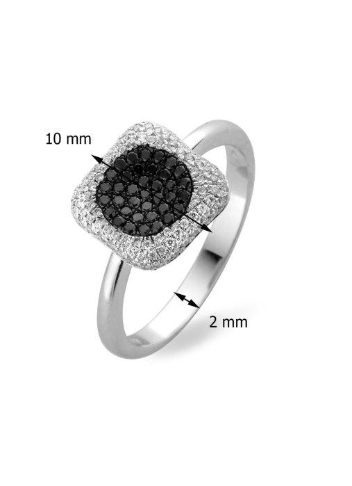 Diamond Point Black Ring in 18K Weißgold