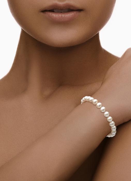 Diamond Point Pearl Armband