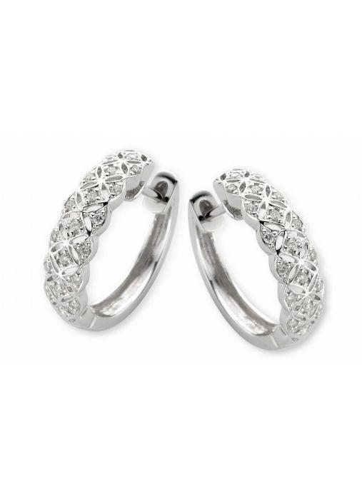 Diamond Point Witgouden oorsieraden, 0.15 ct diamant, Since 1904