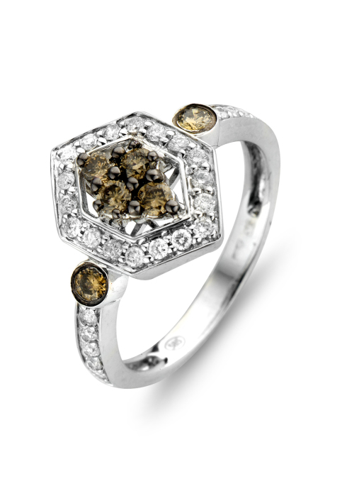 Diamond Point Brown ring in 14 karat white gold