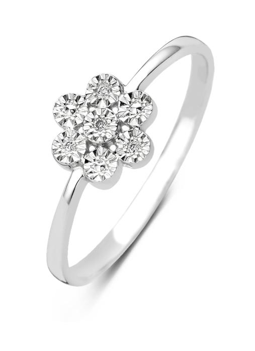 Diamond Point Witgouden ring 0.01 ct diamant Caviar