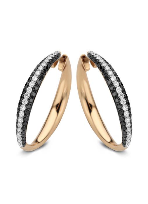 Diamond Point Roségouden oorsieraden, 1.83 ct diamant, Black