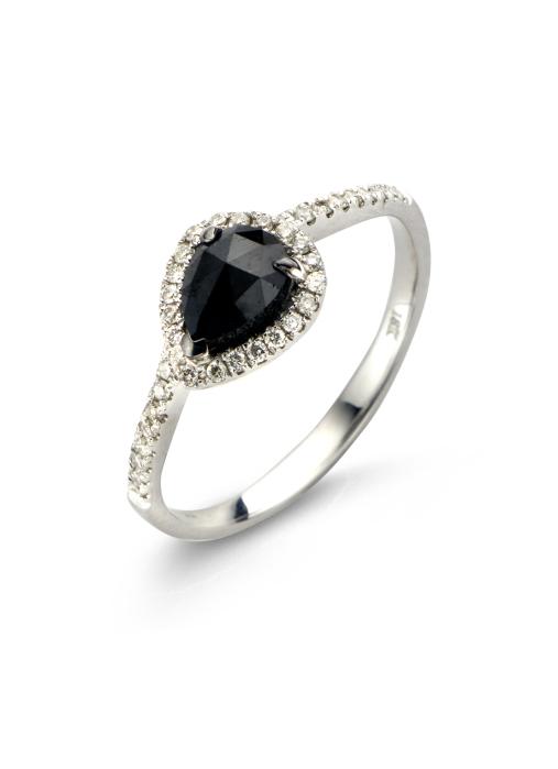 Diamond Point Black ring in 18 karat white gold