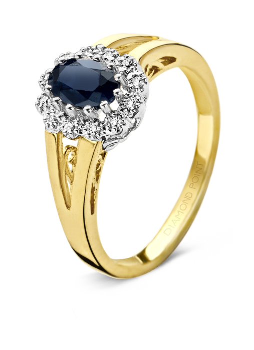 Diamond Point Geelgouden ring 0.60 ct blauwe saffier Colors