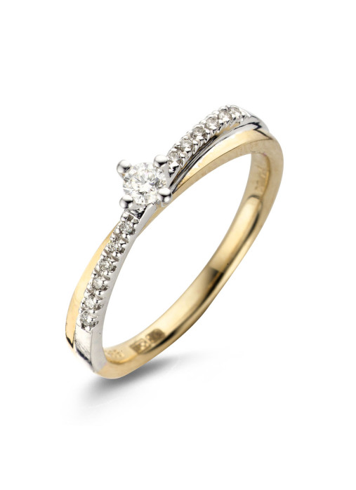 Diamond Point Gouden ring, 0.15 ct diamant, Solitair
