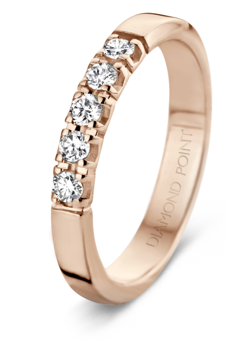Diamond Point Groeibriljant stackable ring in 18 karat rose gold, 0.25 ct.