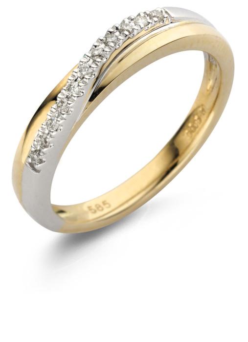 Diamond Point Alliance Ring in 14 karaat bicolor