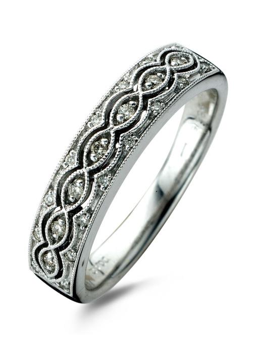 Diamond Point Witgouden ring, 0.12 ct diamant, Since 1904
