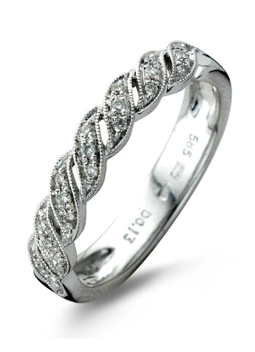 Diamond Point Witgouden ring, 0.13 ct diamant, Since 1904