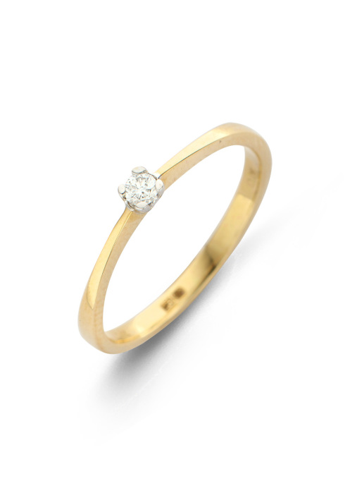 Diamond Point Gouden ring, 0.07 ct diamant, Solitair