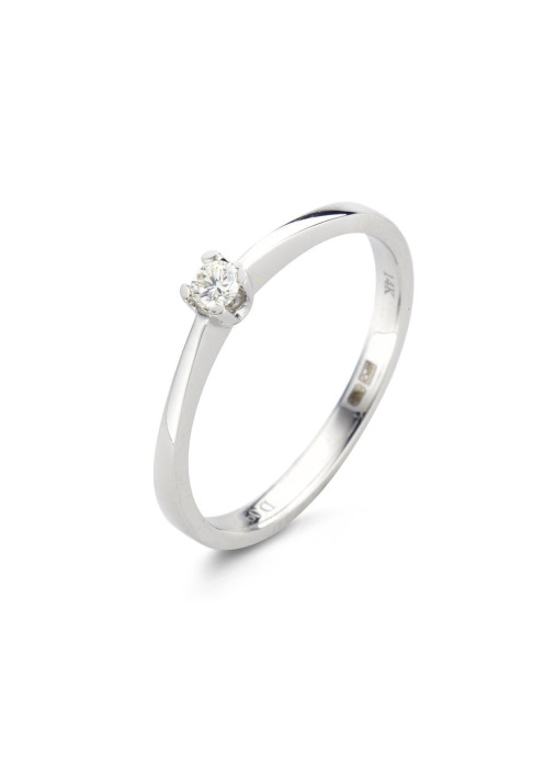Diamond Point Witgouden ring, 0.09 ct diamant, Solitair