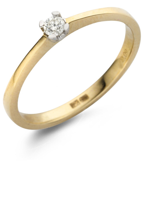 Diamond Point Solitair ring in 14 karat yellow and whitegold