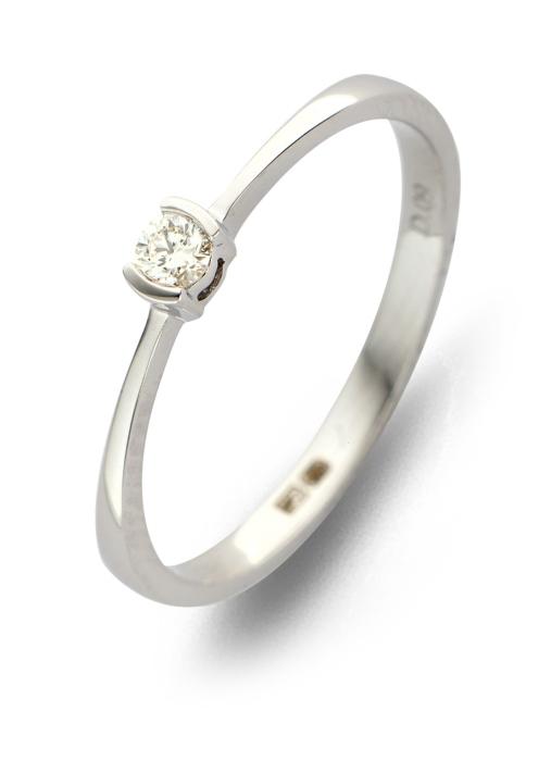 Diamond Point Witgouden ring, 0.09 ct diamant, Solitair