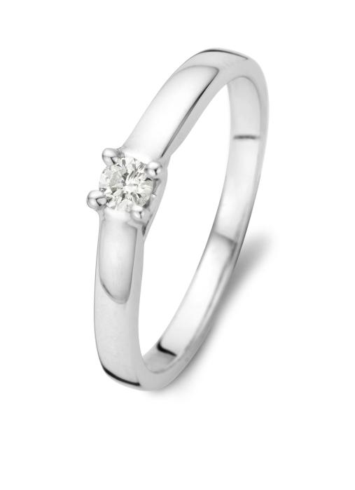 Diamond Point Solitair Ring in 14K Weißgold