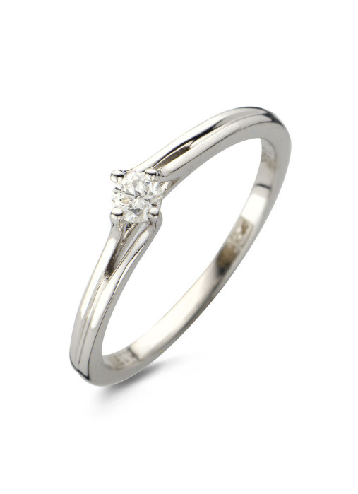 Diamond Point Solitair Ring in 14K Weißgold