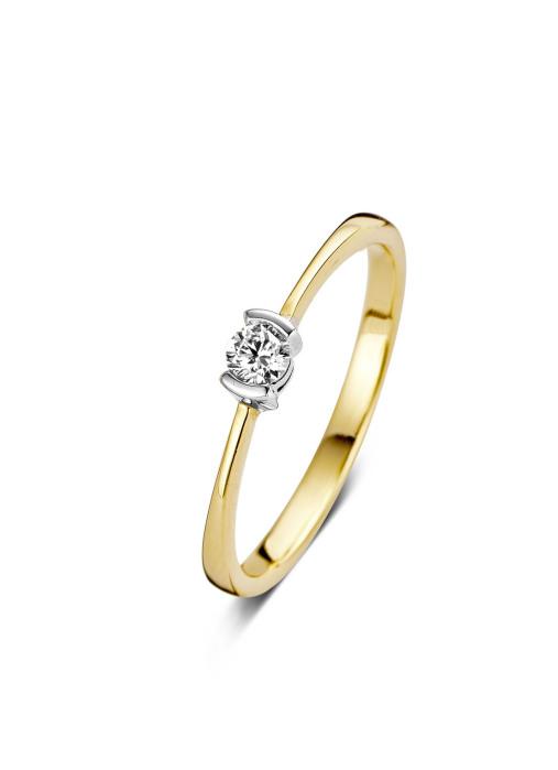 Diamond Point Gouden ring, 0.14 ct diamant, Solitair