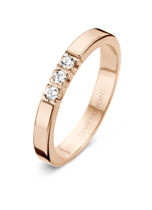 Diamond Point Roségouden alliance ring, 0.21 ct diamant, Groeibriljant