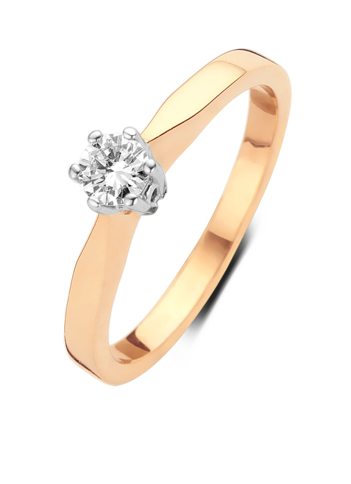 Diamond Point Roségouden solitair groeibriljant ring, 0.12 ct. 0.12 ct diamant Groeibriljant