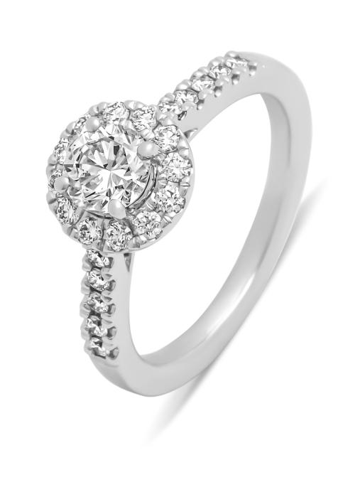 Diamond Point Halo ring in 18 karat white gold