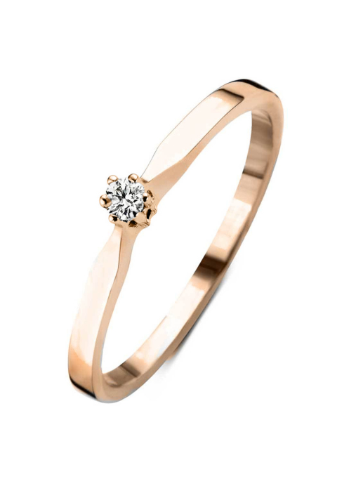 Diamond Point Groeibriljant stud ring in 18 karat rose gold, 0.02 ct.