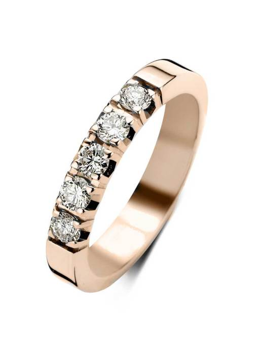 Diamond Point Roségouden alliance groeibriljant ring, 0.50 ct. 0.50 ct diamant Groeibriljant