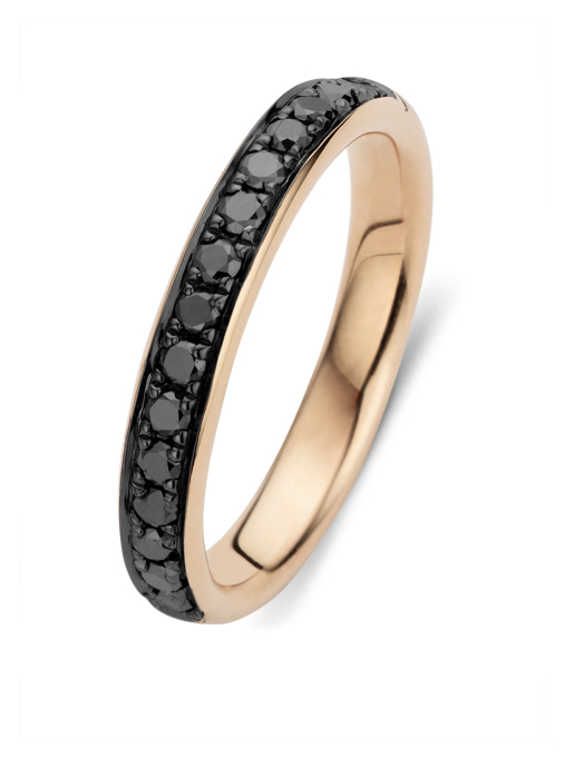 Diamond Point Black ring in 14 karat rose gold