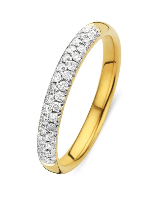 Diamond Point Geelgouden ring, 0.24 ct diamant, Caviar