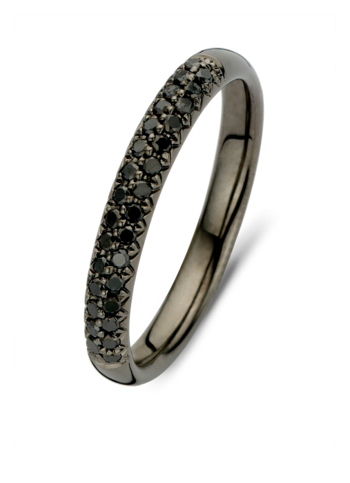 Diamond Point Black Ring in 14K Weißgold
