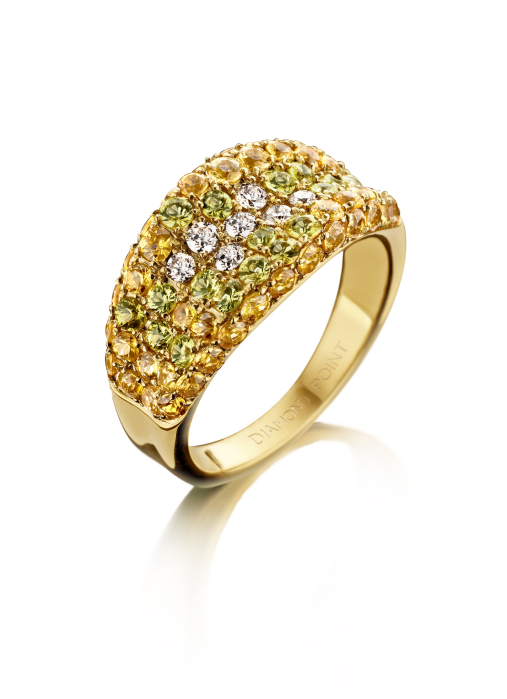 Diamond Point Geelgouden ring, 2.24 ct gele saffier, Colors