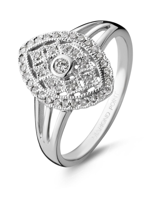 Diamond Point Witgouden ring, 0.23 ct diamant, Since 1904