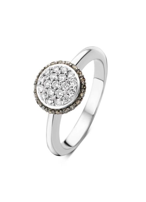 Diamond Point Brown ring in 14 karat white gold
