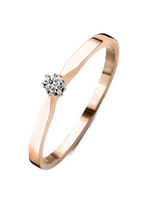 Diamond Point Roségouden solitair groeibriljant ring, 0.04 ct. 0.04 ct diamant Groeibriljant