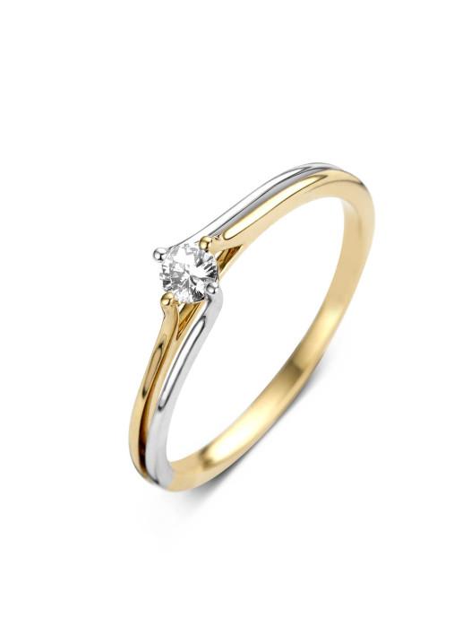 Diamond Point Solitair Ring in 14 karaat bicolor