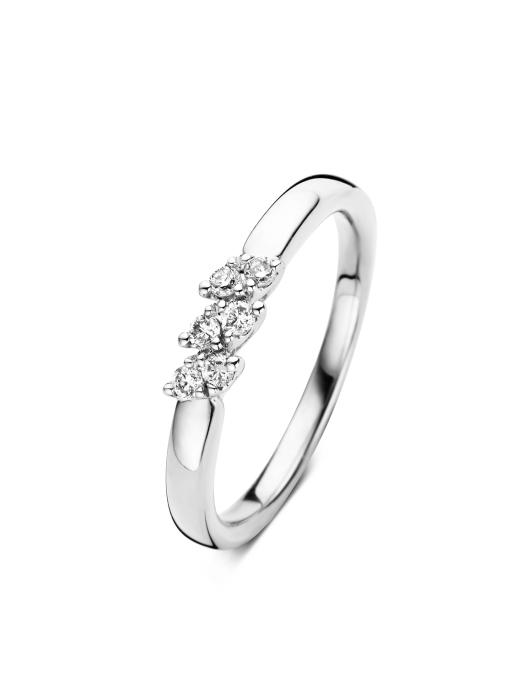Diamond Point Witgouden ring, 0.15 ct diamant, Caviar