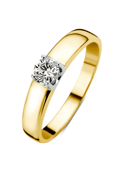 Diamond Point Geelgouden solitair ring, 0.34 ct diamant, Groeibriljant