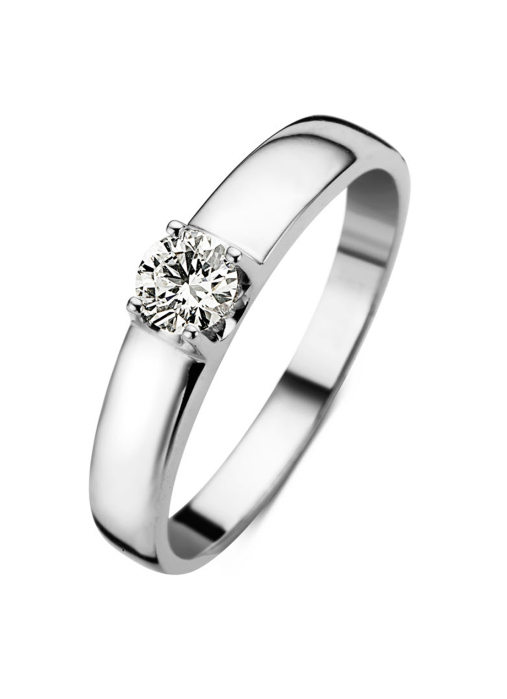 Diamond Point Groeibriljant ring c shape in 18 karat white gold, 0.34 ct.