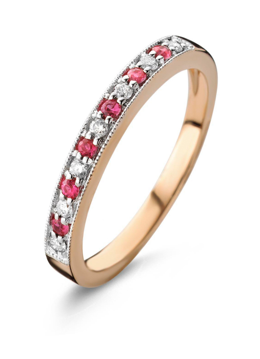 Diamond Point Roségouden ring, 0.12 ct robijn, Colors