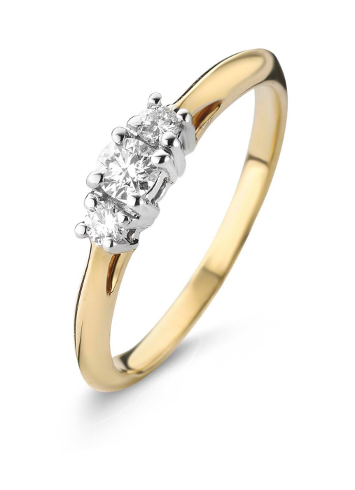 Diamond Point Alliance ring in 14 karat yellow and whitegold