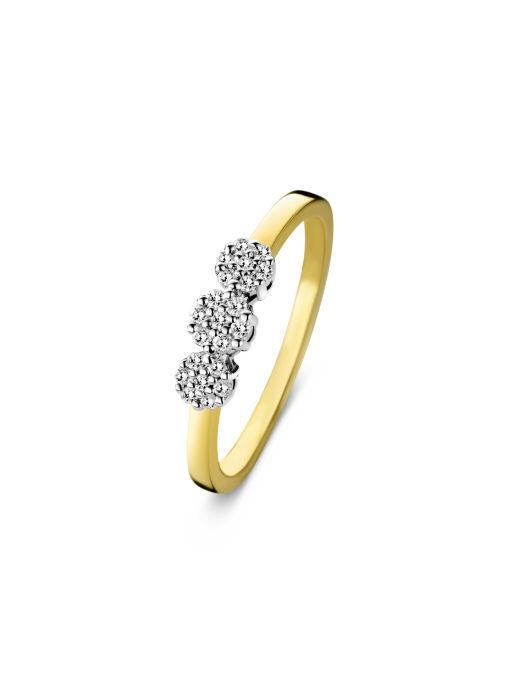 Diamond Point Caviar Ring in 14 karaat geel- en witgoud