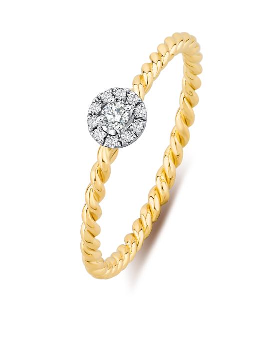 Diamond Point Gouden ring, 0.08 ct diamant, Solitair